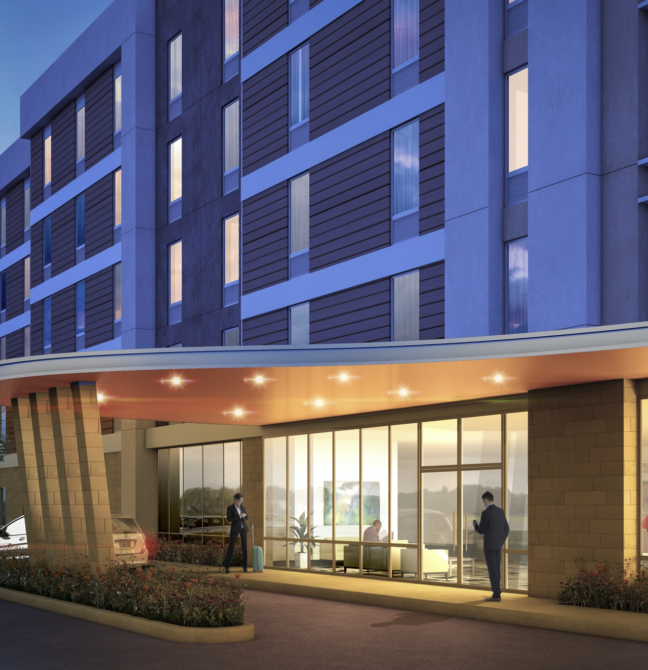 Entry view rendering of Home2 Suites by Hilton in San Francisco