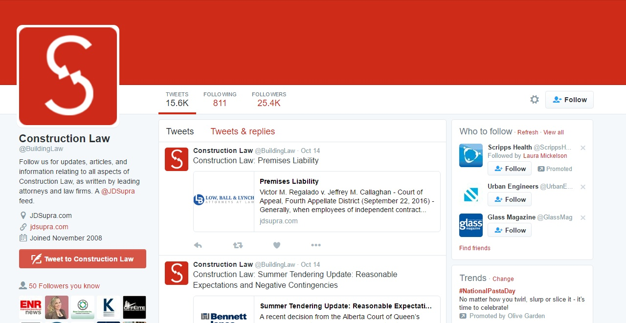 Construction Law Twitter page