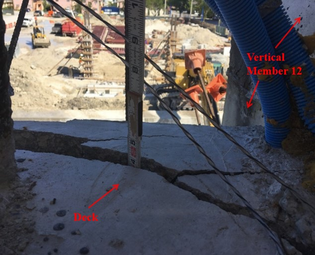 FIU Bridge collapse cracks observed March 13, 2018 (NTSB labels)