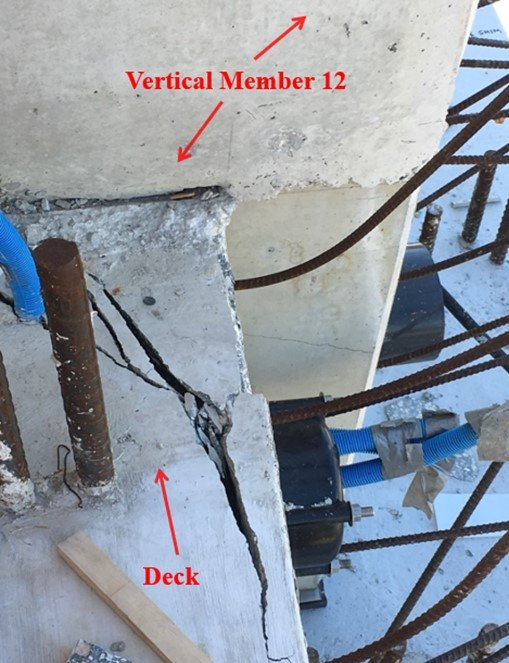 FIU bridge collapse cracks observed March 13 (NTSB labels)