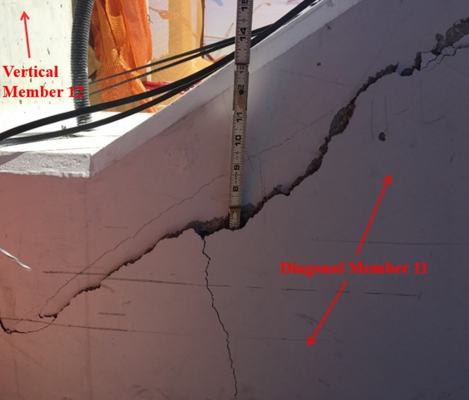 FIU bridge collapse crack observed March 13, 2018 (NTSB labeled)