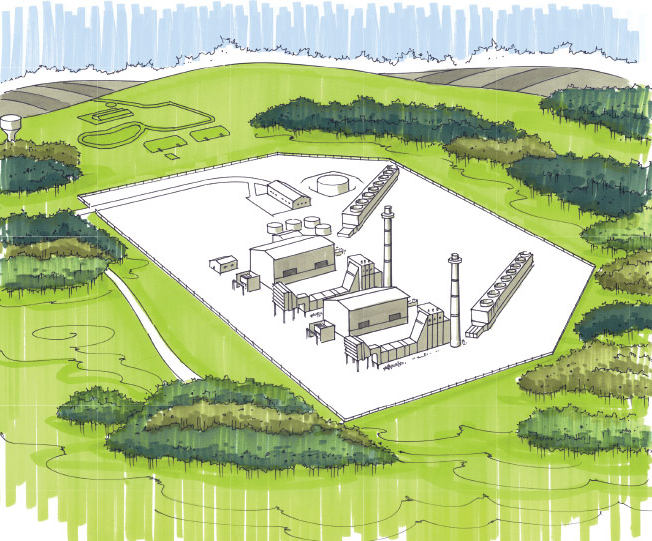 Rendering of $1.3 billion South Field Energy combined-cycle plant